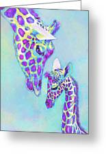 Aqua And Purple Loving Giraffes Greeting Card