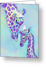Aqua And Purple Loving Giraffes Greeting Card