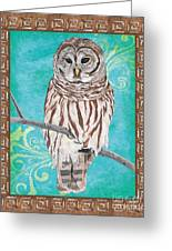 Aqua Barred Owl Greeting Card
