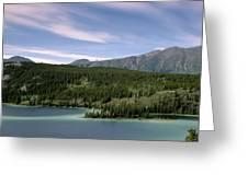 Aqua Green Mountain Lake Greeting Card