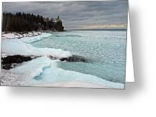 Aqua Ice At Split Rock Lighthouse Greeting Card