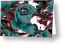 Aqua Rose - Abstract Greeting Card