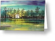 Aqua Sunset Greeting Card