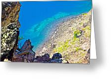 Aquamarine Shoreline At North Junction Of Crater Lake In Crater Lake National Park-oregon Greeting Card