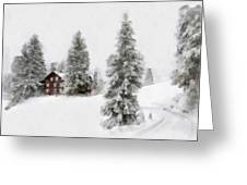 Aquarell - Beautiful Winter Landscape With Trees And House Greeting Card