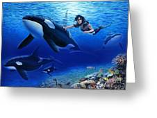 Aquaria's Orcas Greeting Card