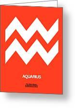 Aquarius Zodiac Sign White On Orange Greeting Card