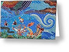 Aquatic Mosaic Tile Art Greeting Card