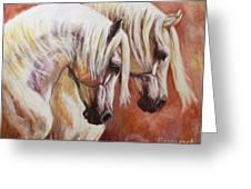 Arab Horses Greeting Card by Silvana Gabudean Dobre