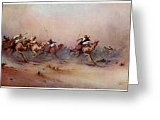 Arab Riders Spur Their Camels Greeting Card