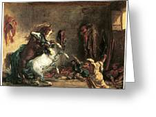 Arabian Horses Fighting In A Stable Greeting Card