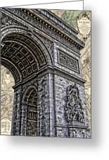 Arc De Triomphe - French Map Of Paris Greeting Card