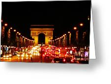 Arc De Triomphe At Night Greeting Card