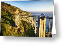 Arch Bridge Over The Bixby Creek Greeting Card by George Oze