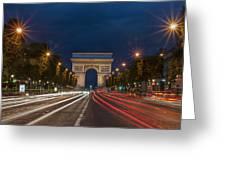 Arch De Triomphe And Avenue Des Champs Elysees Paris France Greeting Card