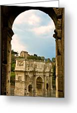 Arch Of Constantine Through The Colosseum Greeting Card