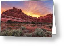 Arches Fire In The Sky Greeting Card