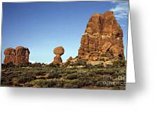 Arches National Park With Balanced Rock And Rock Formations Greeting Card
