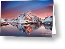 Arctic Dawn Over Reine Village Greeting Card