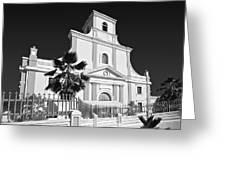 Arecibo Church And Plaza B W 2 Greeting Card