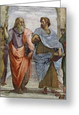 Aristotle And Plato Detail Of School Of Athens Greeting Card