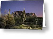 Arizona Superstition Mountains Night Greeting Card by Michael J Bauer