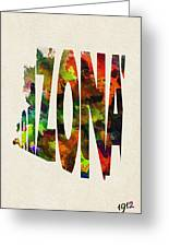 Arizona Typographic Watercolor Map Greeting Card