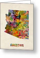 Arizona Watercolor Map Greeting Card by Michael Tompsett