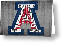 Arizona Wildcats College Sports Team Retro Vintage Recycled License Plate Art Greeting Card