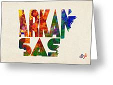 Arkansas Typographic Watercolor Map Greeting Card