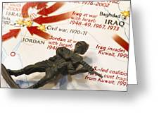 Army Man Lying On Middle East Conflicts Map Greeting Card