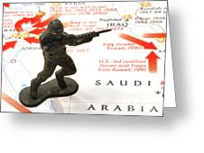 Army Man Standing On Middle East Conflicts Map Greeting Card