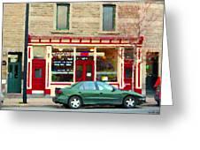 Aromate Resto Cafe Rue St Jacques St Henri  Montreal Urban Food City Scenes Carole Spandau Greeting Card