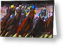 Around The Turn They Come Greeting Card