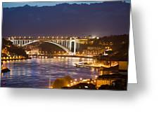 Arrabida Bridge At Night In Porto And Gaia Greeting Card