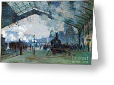 Arrival Of The Normandy Train Gare Saint-lazare Greeting Card