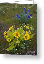 Arrowleaf Balsamroot And Lupine Greeting Card