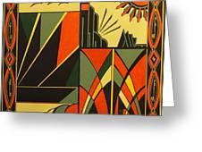 Art Deco In Orange Greeting Card