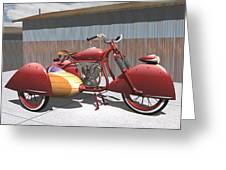 Art Deco Motorcycle With Sidecar Greeting Card