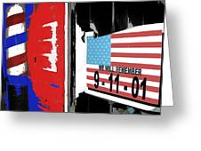 Art Homage Jasper Johns American Flag 9-11-01 Memorial Collage Barber Shop Eloy Az 2004-2012 Greeting Card