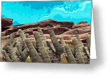 Art No 1901 American Landscape Cactus Stone Mountains And Skyview By Navinjoshi Artist Toronto Canad Greeting Card