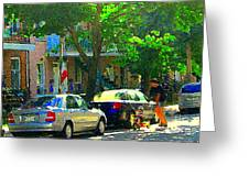 Art Of Montreal Day With Daddy And Yellow Wagon Zooming Our Streets Of Verdun Scene Carole Spandau  Greeting Card