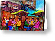 Art Of Montreal Enjoying A Pint At Ye Olde Orchard Irish Pub And Grill Monkland Village Cafe Scenes Greeting Card