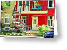 Art Of Montreal Upstairs Porch With Summer Chair Red Triplex In Verdun City Scene C Spandau Greeting Card