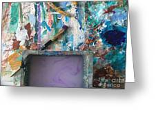 Art Table With Water And Brush Greeting Card