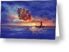 Art The Sea  A Girl Balloons Running Greeting Card