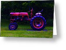Artful Tractor In Purples Greeting Card
