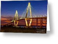 Arthur Ravenel Bridge At Evening  Greeting Card