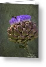 Artichoke Bloom And Bee Dip Greeting Card