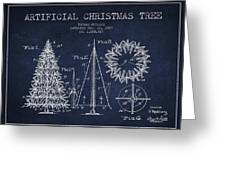 Artifical Christmas Tree Patent From 1927 - Navy Blue Greeting Card